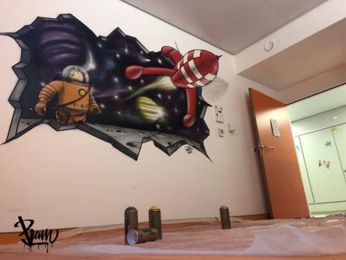 Graff tintin haddock herge graffiti deco chambre street art