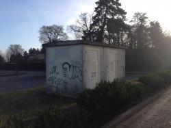 Poste erdf edf street art streetart deco deco graff fresque graffeur bam