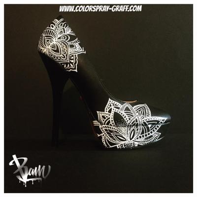 Talon attrape reve tattoo escarpins custom personnalise bam mandala catrina katrina