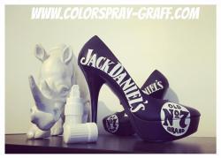 Talon customise custom shoes personnalise jack daniel s escarpins noir black redbull