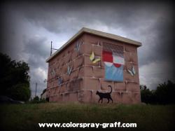 Tranfo transformateur mairie edf erdf graffiti fresque graffiti graff